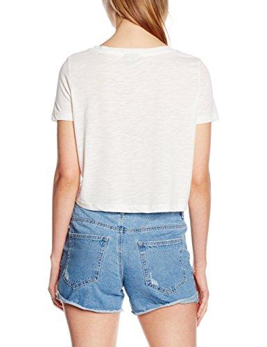 VERO MODA Damen T-Shirt Vmtravel Ss Cropped Top Box Weiß (Snow White Detail:W. FRONT PRINT)