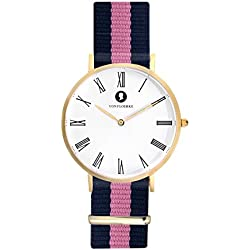 Handcrafted Matt gold Men's and Women's Analogue Wristwatch Fashionable Chronograph with Easily Changeable NATO Wristband - gold, blue pink - with a 1.8 cm Wide Nylon Strap by VON FLOERKE