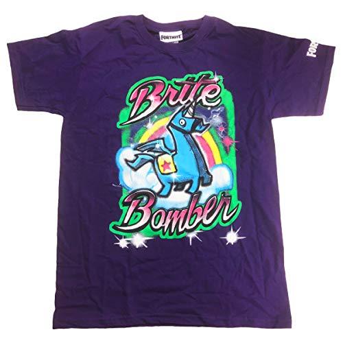 Fortnite - Camiseta de Manga Corta - para niño Morado Morado (54