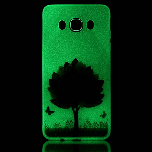 CaseHome Samsung Galaxy J510/J5 (2016) Luminous Hülle (Mit Frie Displayschutzfolie) Leuchtende Silikone Rückhülle Für iPhone 6 6s Plus 5.5 Zoll Zoll Silikon Etui Handy Hülle Weiche Transparente Lumino Bunte Blätter Schmetterling