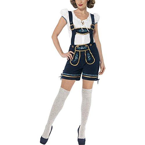 Petalum Damen Drindl Trachtenhose Mütze Bluse Hose Träger Kurz Oktoberfest Kostüm Cosplay Casual Dunkelbalu 3tlg (EU 38-40(Etikette XL)