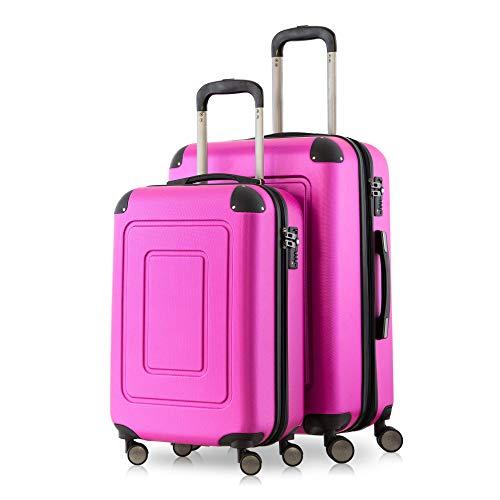 Happy Trolley - 2er Koffer-Set Trolley-Set Rollkoffer Hartschalen-Koffer Reisekoffer Lugano sehr leicht, TSA, (S+M), Pink