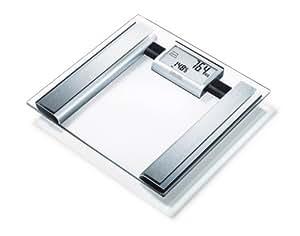 Sanitas SBG 39 Diagnosewaage (-fett, Personenwaage aus Glas zur Ermittlung von Körpergewicht, Muskelanteil, Knochenmasse, Kalorienbedarf, Idealgewicht)
