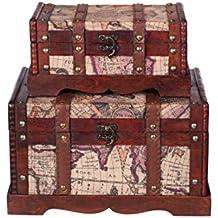 Baúles Set HS 130521, dos Set, Set de regalo baúl, 2unidades, madera baúl, Cofre del Tesoro, caja, caja pirata, muebles pequeños, con herrajes de metal, acabado antiguo, madera, diferentes tamaños, Maritim, decoración, de gran calidad, Kolo nialtruhe, estilo colonial, caja de madera, Baúl con adornos