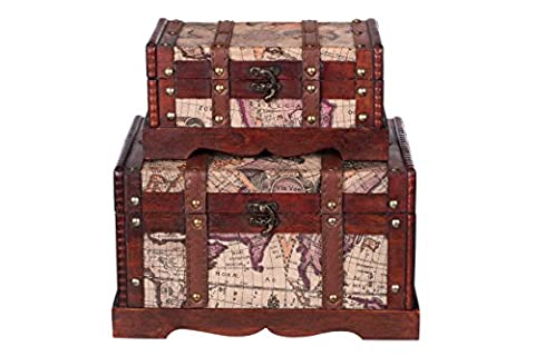 Chest Set HS 130521 Set of Two Gift Set Wooden Treasure Chest Pirate Chest Small Item of Furniture with Metal Covering Antique Appearance Wood Various Sizes Maritime Decorative High-Quality Colonial Style Wooden Box with