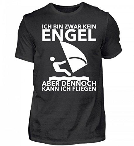 Hochwertiges T-Shirt - Ich Bin Zwar Kein Engel, aber dennoch Kann Ich Fliegen - Windsurfen - Surfen - Kitesurfen - Windsurf - Surfsegel