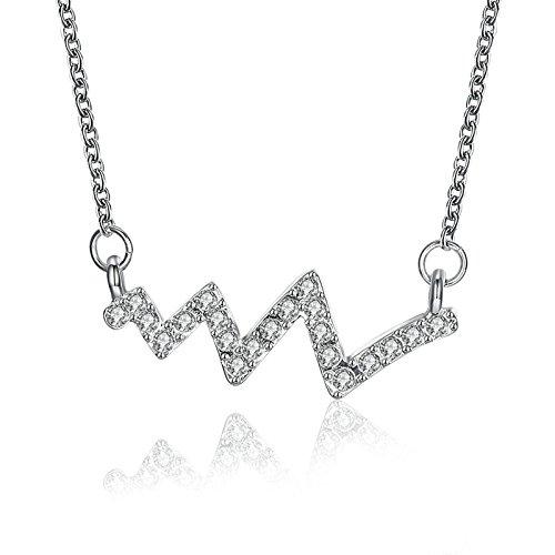 Epinki Damen Anhänger Halskette Blitzglyphe Silber Damenkette Kettenlänge (Tasche Weed Kostüm)