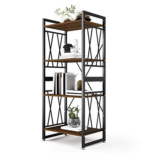 Baoniansoo Bücherregal im Industriestil mit Vier Etagen, Bücherregale aus Holz und Metall, Möbel für die Sammlung, Aufbewahrungsregale für multifunktionale Blumenständer, Retro-Braun -