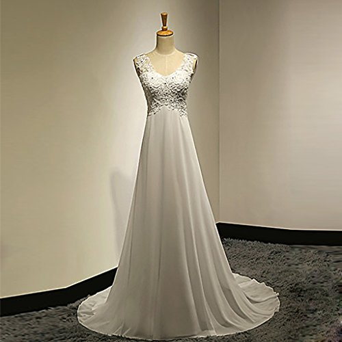 CJJC Damen Braut Brautkleider Lang Bodenlangen V-Ausschnitt Weiß Chiffon Ballkleid Kleider mit Spitze Appliques/Sicke,UK10 (Bodenlangen Chiffon-applique)