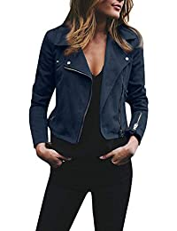 MRULIC Femmes Manteaux exquise Personnalisation Womens Ladies Retro Rivet Zipper Up Bomber Jacket Casual Manteau Outwear