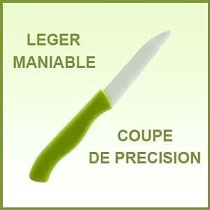 LOT 4 COUTEAUX CERAMIQUE ECOLOGIQUE LAME 7,5 cm MANCHES assortis - Tutti Cuisine