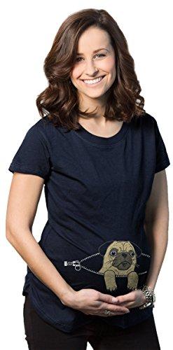 Navy Mutterschaft Tee (Crazy Dog Tshirts Maternity Peeking Pug Cute Dog T Shirt Funny Pregnancy Tee For Women (Navy) 3XL - Damen - 3XL)