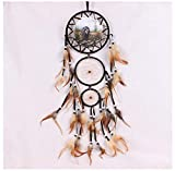ZXCIN Dream Catcher in Rilievo Piume Naturali Artigianato Chic Ornamenti appesi Decorazioni da Parete per Camera da Letto Piccoli gusci Anello Nativo Car Decor Orso