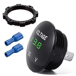 Wasserdichtes Voltmeter, Digital Anzeige Spannungsprüfer LED Rund für DC 12V-24V Auto Motorrad RV Truck - Grün