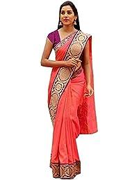 Art Décor Women's Chanderi Cotton Banarasi Silk Border Peach Saree With Blouse