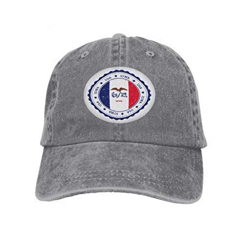 Men Women Classic Denim Adjustable Baseball Cap Iowa Flag Badge Grunge Rubber Stamp Vintage travel Stamp cir Gray - Womens Denim-baseball-hüte