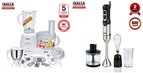 Inalsa Food Processor Fiesta 650-Watt + Inalsa Hand Blender Robot INOX 1000 Powerful 3 in 1