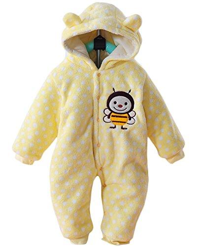 Minetom Herbst Winter Verdickte Overalls Baby Mädchen Jungen Overall Cartoon Coral Fleece Kinderkleidung Warm Einteiler Spieler Biene Gelb 66cm
