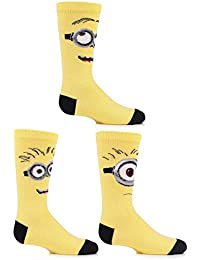 a8bb3160908 SockShop Kids 3 Pair Despicable Me Minions Faces Cotton Socks
