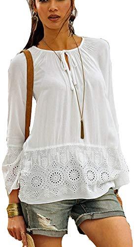 Versandhausware Hippie Boho Tunika Bluse schwarz und cremeweiß mit Stickerei  962553 964350 (50, Weiß) cca4a21c97