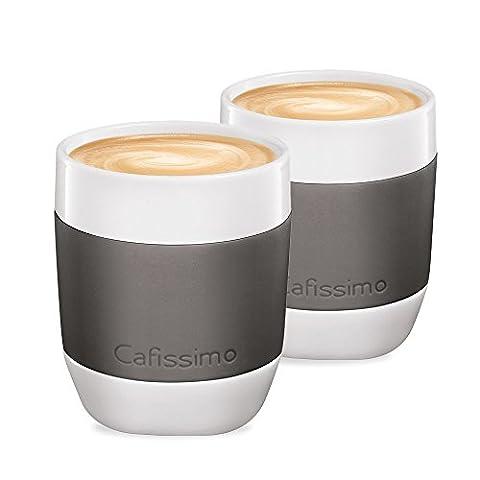 Tchibo Cafissimo XL Becher, Cappuccino Becher, Latte Macchiato Becher aus Porzellan mit Silikonmanschette, 2er Set,