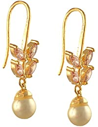 Zephyrr Earrings Gold Tone Hook With Zircons And Pearls