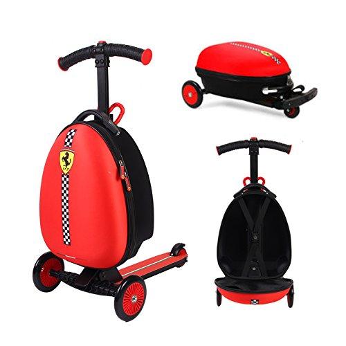 Ferrari® 2 in 1 Kid Scooter + Koffer kinderscooter Kinderkoffer Reisegepäck kofferscooter klappbar ab 3 -7 Jahre Alt Max.50Kg (Kinder-koffer Roller)