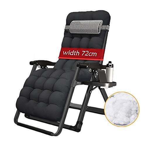 HYDT Liegende Lounge Übergroße Klappstühle für Garten-Außenplatz, schwere quadratische Beine Deck Chair mit Passepartout, 8 × 8 Sitzfläche (Farbe : B, größe : Black mat)