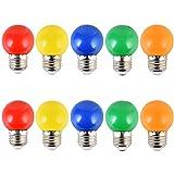 10PCS 2W E27 ampoule couleur, ampoule LED couleur unique, 200LM Lampe de Noël 220V...