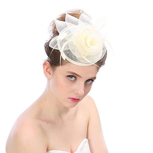 BURFLY Braut Kopfschmuck Hanf Hut, Mode Hochzeit Frauen Fascinator Penny Mesh Hut Bänder und Federn Partyhut (Beige)