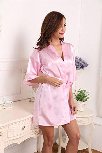 Aibrou Damen Kimono Morgenmantel Bademantel Kurz Schlafanzug Nachtwäsche Satin V Ausschnitt mit Gürtel Hellrosa