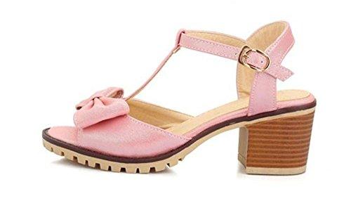 Chaussures Peep Toe Mi-épaisses À Court Sandales À Talons Papillons Roses Douces