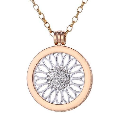 Morella Damen Halskette gold 70 cm Edelstahl mit Anhänger und Coin 33 mm Sonnenblume in Schmuckbeutel