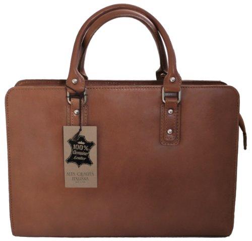 CTM Damen Tasche Handtasche von Arbeit, 36x27x11cm, 100% echtes Leder Made in Italy Schlamm