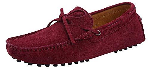 ZEROLING Herren Quaste Lederne Schuhe Suede Loafers Rot