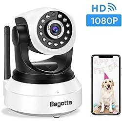 Caméra IP WiFi,Caméra Surveillance WiFi,Bagotte Caméra de Sécurité sans Fil avec Vision Nocturne,Détection de Mouvement,Audio bidirectionnel pour sécurité à la Maison/Bébé/Animaux de compagnie