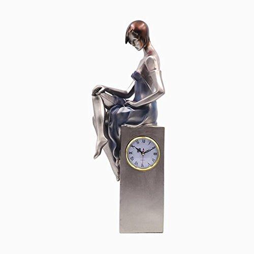 PLDDY Weinregal Freiheitsstatue Uhr Dekoration 54 * 19 * 10cm (Farbe : Silber)