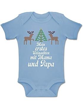 Shirtracer Weihnachten Baby - Ugly Sweater - Mein erstes Weinachten - Baby Body Kurzarm Jungen Mädchen
