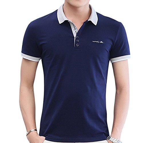 Herren Freizeit Slim Fit Kurzarm Klassisch Poloshirts T-Shirts Men'S Basic  Polo Shirt Blau
