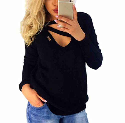 Pullover Damen Sweatshirt Ronamick langen V-Ausschnitt sexy Einfarbig Langarm Bandage Mode Top Blouse (Schwarz, XL) (Mit V-ausschnitt Acryl-pullover)