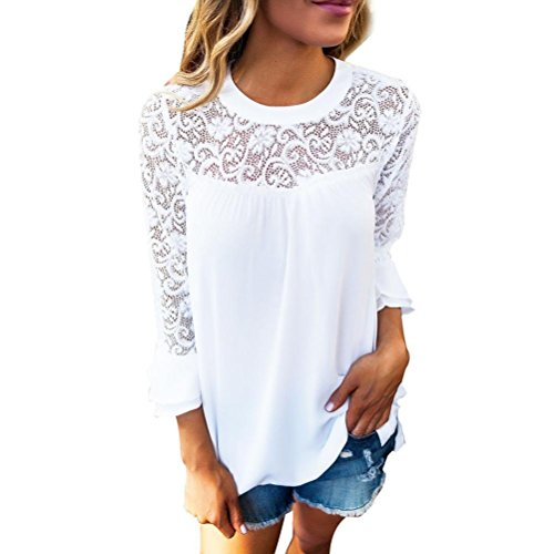 Durchbrochene Spitze Top VENMO Damen Damen 3/4 Ärmel Frill Tops Damen Stickerei Spitze Blusen-T-Shirt (Weiß, XL) (Kurzarm-bluse Crinkle)
