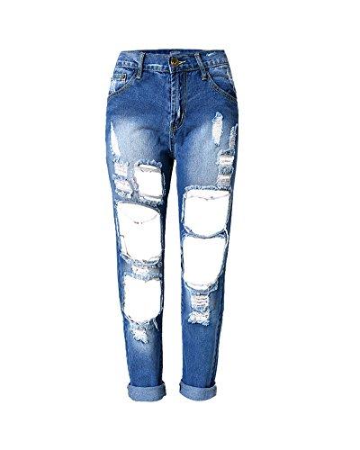 SaiDeng Donne Fidanzzato Distrutto Jeans Strappato Lavato Denim Tempo Libero Pantaloni Blu Marino 2 29
