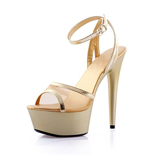 W&LMFilati netti sandali Piattaforma impermeabile Spessore inferiore Scarpe Tacchi alti Scarpe modello Sandali da lavoro Sandali da banchetto 15 centimetri Gold