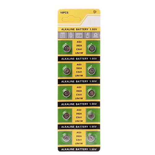 ZOUCY 10 Stücke Zelle Münze Alkaline Batterie AG3 1,55 V Knopfbatterien SR41 192 L736 384 SR41SW CX41 LR41 392 Lampe Kette Finger Licht Uhr Spielzeug Fernbedienung