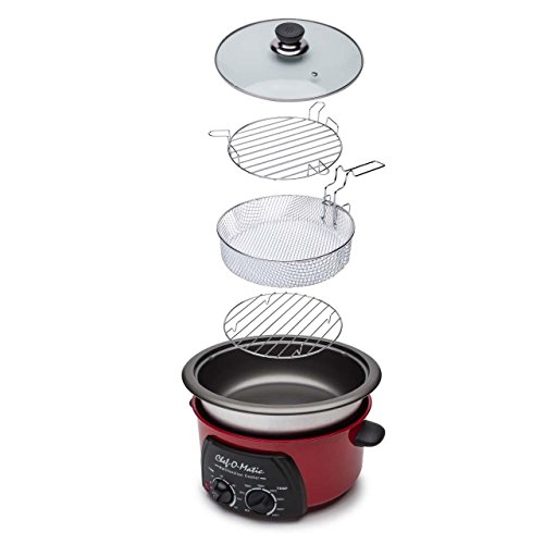 Chef-O-Matic Multifuncion Cooker 3l, Rojo, Talla única