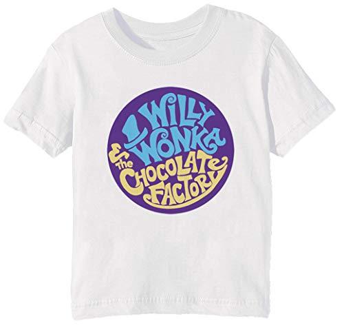 Willy Wonka and The Chocolate Factory - Gene Wilder Kinder Unisex Jungen Mädchen T-Shirt Rundhals Weiß Kurzarm Größe XS Kids Boys Girls White T-Shirt Extra Small Size ()