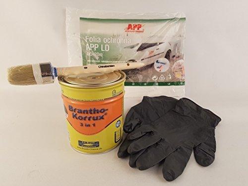 Preisvergleich Produktbild Brantho Korrux 3 in1 schwarz 750ml Dose Rostschutz Metallschutzfarbe incl. Verarbeitungsset
