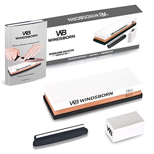 WINDSBORN 2-in-1 Schleifstein Set + E-Book - Hochwertiger Wasserstein zum Schleifen Ihrer Messer inklusive Rutschfester Unterlage, Schleifhilfe und Reinigungsstein