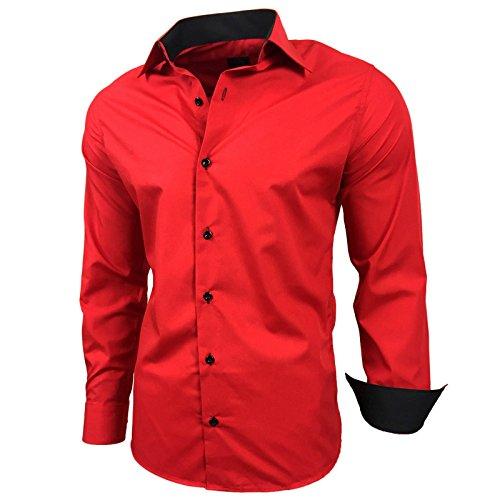 Baxboy Kontrast Herren Slim Fit Hemden Business Freizeit Langarm Hemd RN-44-2, Größe:2XL, Farbe:Rot
