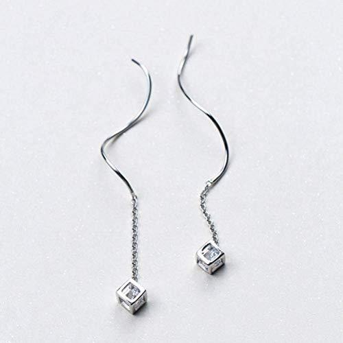 E-H S925 Silber Ohrringe Damen Sweet Diamond Cube Ohrringe Temperament Geometrie Magic Square Ohr Kette Ohr Draht Weiblich, S925 Silber Paar, 925 Silber, Silber, a (Silber Square Draht)